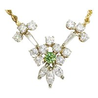 Green Diamond Pendant Necklace with White Diamonds 14K 2.42ctw