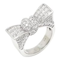 Pave Diamond Tied Bow Ring 18K White Gold 3.50ctw