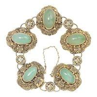 Vintage Chinese Silver Gilt Filigree Green Jade Bracelet