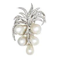 Vintage Baroque Pearl Brooch Coconut Tree with Diamonds 14K 1.75ctw