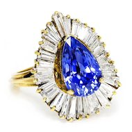Vintage Certified Pear Sapphire Ballerina Ring with Diamonds in 18kt Gold 7.60ctw