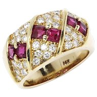 Vintage Ruby Cocktail Ring with Diamonds in 14kt Yellow Gold 2.25ctw