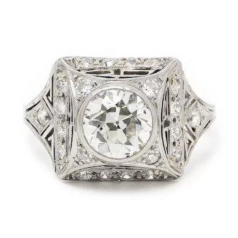 Vintage Art Deco European Diamond Engagement Ring with Accents in Platinum 2.00ctw