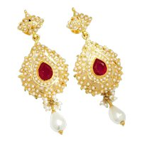 Vintage Ruby Indian Earrings with Pearls 22K Yellow Gold 8.00ctw