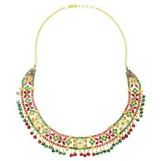 Vintage Emerald & Ruby Indian Necklace 22K Yellow Gold 22.25ctw