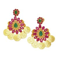 Vintage Emerald Indian Earrings with Rubies 22K Yellow Gold 6.15ctw