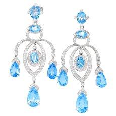 Swiss Blue Topaz Chandelier Earrings with Diamonds 18K White Gold 32.80ctw