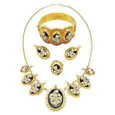 Vintage Diamond & Black Enamel 4-Piece Jewelry Suite in 14K Yellow Gold