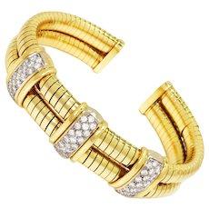Wire Wrapped Cuff Bracelet with Diamonds 2.85ctw 18K Gold