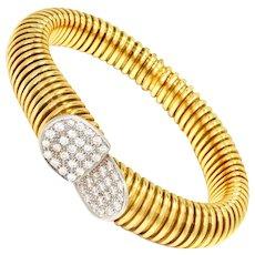 18K Gold Wire Wrapped Cuff Bracelet with Diamonds 2.00ctw