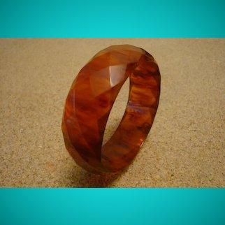 "Cool Vintage 1"" Semi Translucent Amber/Rust Bakelite Bracelet! Diamond Facets!"