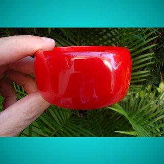 """Vintage 1 3/8"""" Semi Translucent Cherry Red Bakelite Bracelet! Beveled Edges!!"""
