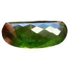 "Beautiful Vintage 1"" Emerald Green ""Prystal"" Bakelite Bracelet! Diamond Facets!"