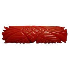 Vintage Cherry Red Bakelite Bar Brooch! Beautiful Art Deco Inspired Carvings!!