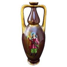 "Royal Bonn H.P. 8"" Slender Muscle Vase w/ Cavalier"