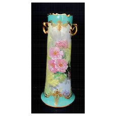"15"" H.P. Dresden Vase with Pink Roses & Heavy Gold- signed ""S. Bach"""
