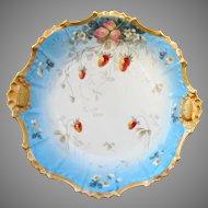"H.P. Limoges 10 ½"" Strawberry w/Gold Trim Bowl"