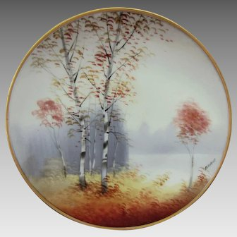 "Osborne Art Studio H.P. ""Autumn Birches with Lake in Background"" Vellum Cake Plate- signed ""Osborne"""