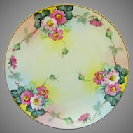 """J.H. Stouffer Company H.P. 8 ½"""" Wild Pink Roses Cake Plate"""