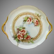 """Jean Pouyat Limoges 10 ½"""" Peach Roses Handled Tray- artist signed """"G.B.A."""""""