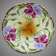 """Stouffer H.P. Plate w/ Lavender and Red Irises & Gold Border- artist signed """"E. Feix"""" (1906-1914)"""