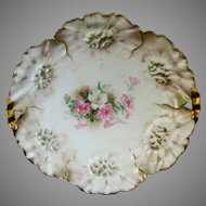 """R.S. Prussia 9 ¾"""" Sunflower Mold Open Handled Cake Plate"""