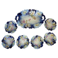 "R.S. Prussia 12 ¾"" Carnation Mold Cobalt Oval Bowl w/Handles and Six Berry Bowls"