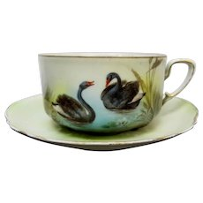 R.S. Prussia Black Swans Coffee Cup & Saucer