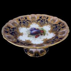 "Royal Worcester 1900's Fruit Pedestalled 9 1/2"" Tazza By Artist Richard Sebright"
