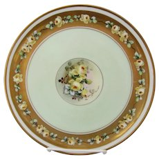 """White's Art Co. H.P. 9 1/4"""" Cake Plate with Yellow Roses & Gold- artist signed """"POL"""""""