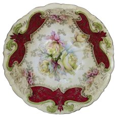 """R.S. Prussia 10 ¾"""" Bowl with Roses and Red"""