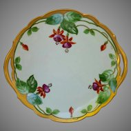 """Donath Studio H.P. 10 ¾"""" Cake Plate with Fuchsias- signed """"King"""""""