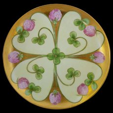 """J.H. Stouffer Company 8 ¼"""" Pink Clover on Gold Columns Cake Plate- signed """"FK"""""""