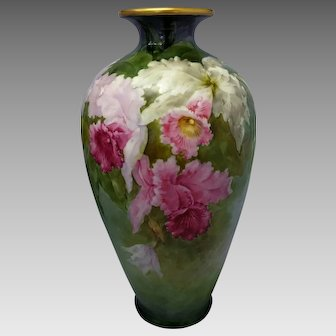 "Belleek H.P. Paul Putzki 14 ½"" Vase with Cattleya Orchids- ""P. Putzki"""
