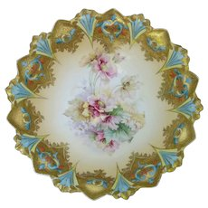 """R.S. Prussia 9 ¾"""" Sawtooth Mold Bowl with Encrusted Gold and Roses"""