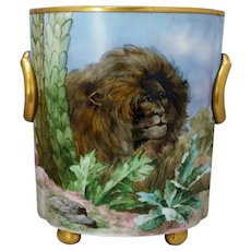 "Bavaria 10 ½"" H.P. Lion in the Jungle Cache Pot- artist signed"