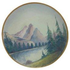 "Pickard H.P. 8 ¼"" Vellum Mountain Landscape Plate signed- ""E. Challinor"""