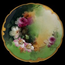 """Pickard H.P. 8 ¼"""" Plate with Red, White & Pink Roses by artist Thomas Jelinek"""