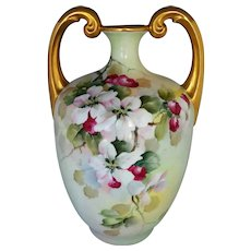 """Limoges H.P. 13 ½"""" Muscle Vase with Apple Blossoms by Professional Artist """"Bement"""""""