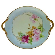 """C. Carr Studio H.P. 10 ¼"""" Pink and Red Roses Cake Plate by Chicago Artist Catherine Carr"""