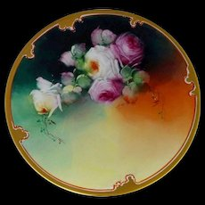 """Pickard H.P. 8 ½"""" Red and White Naturalistic Roses Cake Plate by artist Erhardt Seidel"""