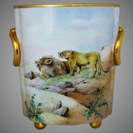 """Hand Painted 12 ¼"""" Lion and Lioness Cache Pot by Pickard Artist """"J. Gottlich"""""""