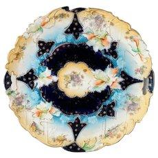 "R.S. Prussia 11"" Cobalt Blue Floral Cake Plate- Buff Rim with Cobalt Center"