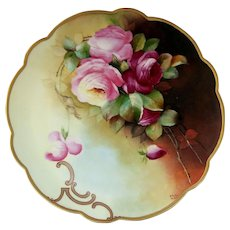 """Edward Donath Studio 11 ¾"""" H.P. Charger with Roses by Pickard artist """"M. Roast Leroy"""""""