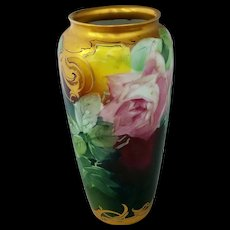 Pickard H.P. Vase with Pink Naturalistic Roses by Artist Andrew Motzfeldt