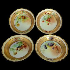 Pickard H.P. (4) Berries in Gold Berry Bowls signed by Minnie Pickard and John Nessy