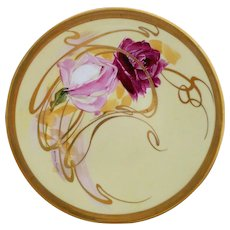 """Pickard H.P. 9"""" Roses Overpainted With Gold Whiplashes Plate by artist Andrew Motzfeldt"""