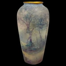 "Pickard H.P. 5"" Vellum Woodland Beside Lake Vase by Edward Challinor"