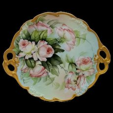 """Limoges H.P. Ester Miler 11 ¾"""" Cake Plate with Peach/Pink Roses- signed """"E. Miler"""""""