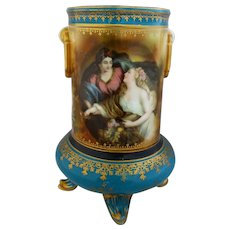 "R.S. Prussia ""Peace Bringing Plenty"" Footed Vase with Teal"